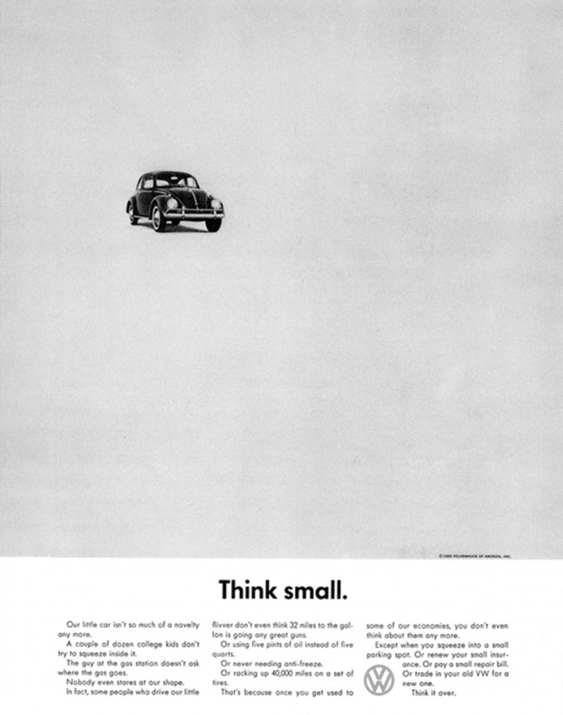 """Volkswagen """"Think Small"""" print ad, 1959"""